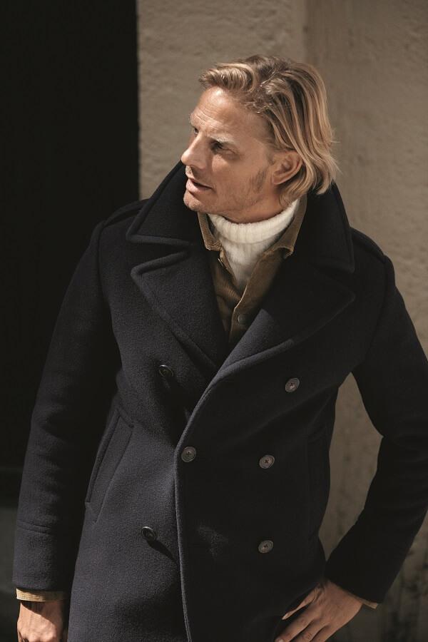 свитер и пальто кабан базовый мужской гардероб